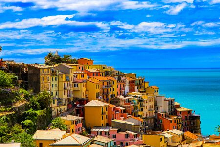 a costal view while  exploring the back trails around the  Riomaggiore village which is a small village in the Liguria region of Italy. Standard-Bild
