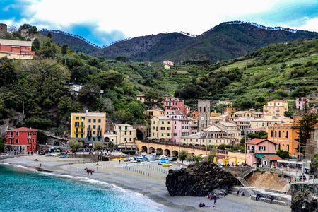 exploring  the costal village of Riomaggiore which is a small village in the Liguria region of Italy known as Cinque Terra Standard-Bild