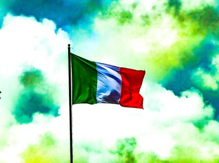 The Italian flag flowing  in a viberant and colorful morning