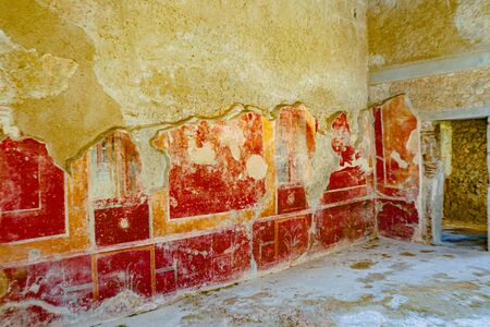 Exploring the houses and streets of the ancient city of Pompeii which is an ancient Roman city near Naples Italy that was  destroyed by  the eruption of Mount Vesuvius Reklamní fotografie