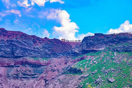 exploring one of the craters of the worlds most dangerious volcano which in on Mount Vesuvius near Pompeii in Italy