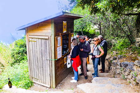 Trail ticket booth in Cinque Terra. editorial only photo