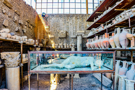 Exploring the houses and streets of the ancient city of Pompeii which is an ancient Roman city near Naples Italy that was  destroyed by  the eruption of Mount Vesuvius Redakční