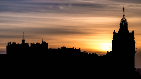 lothian: Edinburgh Castle when sunset in silhouette Edinburgh Scotland UK Stock Photo