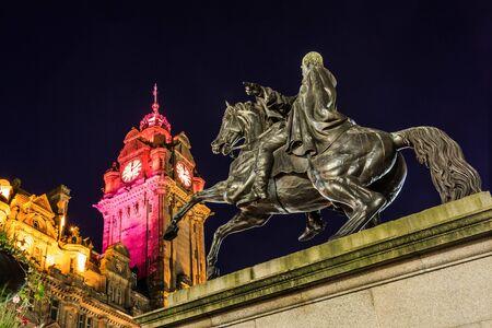 duke: The Duke of Wellington statue with beautiful clocktower in background Edinburgh Scotland UK