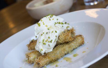 turkish dessert: turkish dessert like baklava with cream