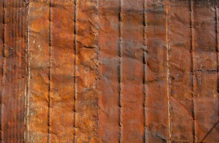 corrugated steel: Grunge Rusty galvanized iron plate or zinc and red texture background