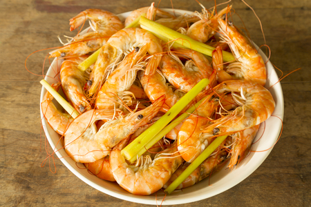 Shrimp or prawn with lemongrass herb in with bowl photo