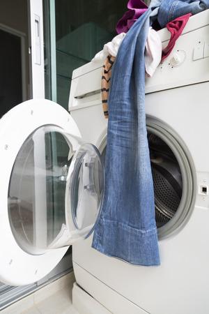 clothes on washing machine