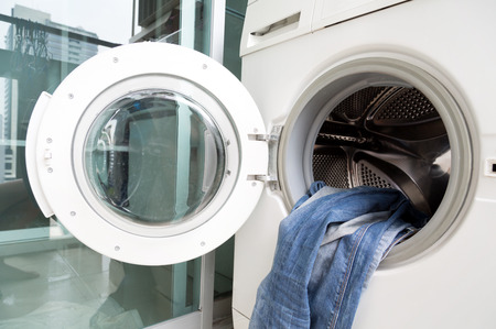 laundrette: clothes in washing machine