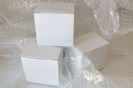 polyethylene film: white paper box and air bubble