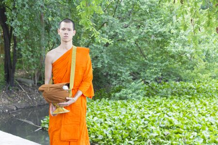 ordination: Young Thai monks. This is Ordination Ceremony and Thai Culture for Every Man Becoming a New Monk or Priest.