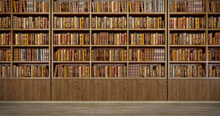 Panorama old books on wooden shelf in book shop or library.3d rendering