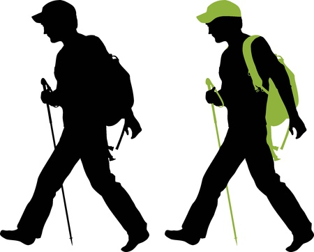 guy with walking stick: Hiker  backpacker  silhouette walking