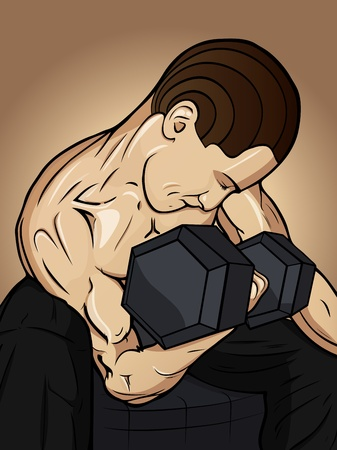 tough man: Stylish gym men with dumbbell