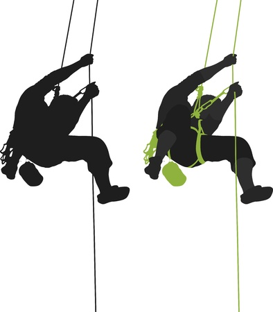 クライマー: 岩の登山家ぶら下げシルエット