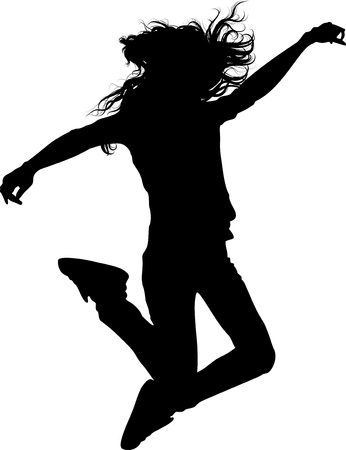 dancing pose: jumping teen girl isolated silhouette Illustration