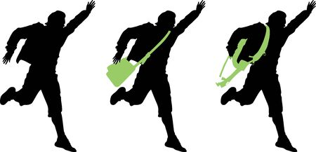 Boy with a bag running isolated silhouette Vector