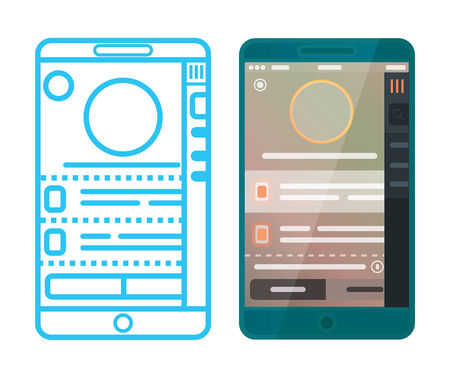 prototyping: wireframe and mobile design Illustration