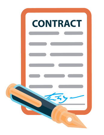 signing papers: Signed contract with a retro pen