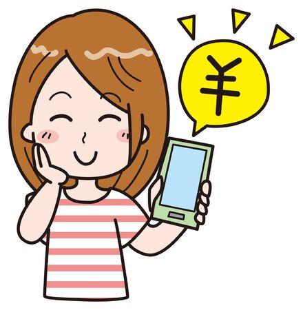 Smartphone Female 5  イラスト・ベクター素材