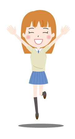 Illustration of a high school girl jumping with a smile
