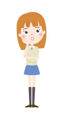 Illustration of a high school girl thinking
