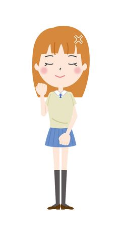 Illustration of a schoolgirl quietly trembling in anger