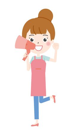 Illustration 2 of the housewife to cheer on in the megaphone Ilustração