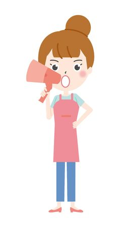 Illustration 2 of the housewife flying with a megaphone