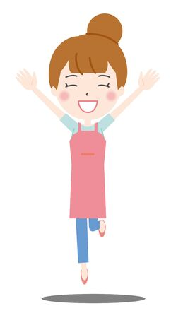 Illustration 2 of the housewife jumping with a smile