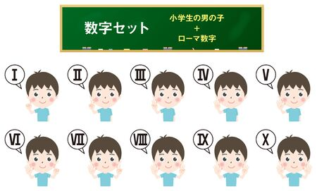 Illustration of elementary school boys counting numbers