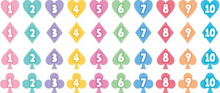 Colorful set of card numbers