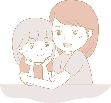 The girl and mother who put their cheeks on the desk Ilustração