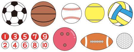 Balls of various sports