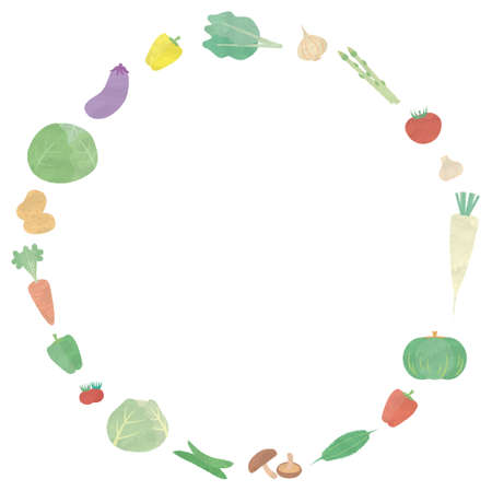 Illustrations of making circles with vegetables