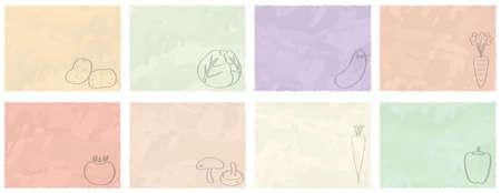 A set of vegetable cards Ilustração
