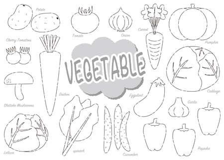 Set of cute vegetables 2 Ilustração
