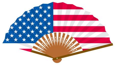 An American flag-patterned fan Ilustração