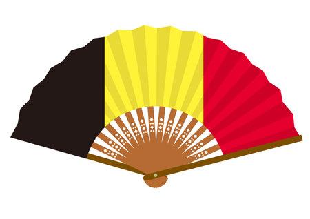 Belgian flag-patterned fan