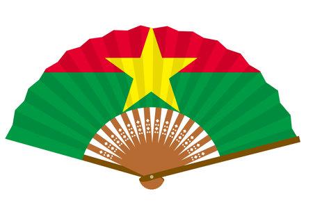 Burkina Faso flag-patterned fan Ilustração