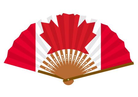 Canadian flag-patterned fan