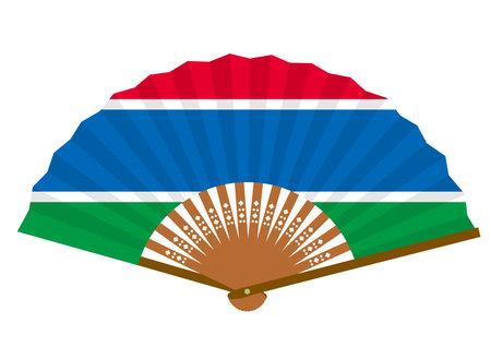 Gambian flag-patterned fan Ilustração