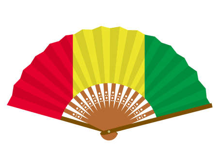 Guinean flag-patterned fan Ilustração