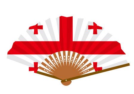 Georgian flag-patterned fan