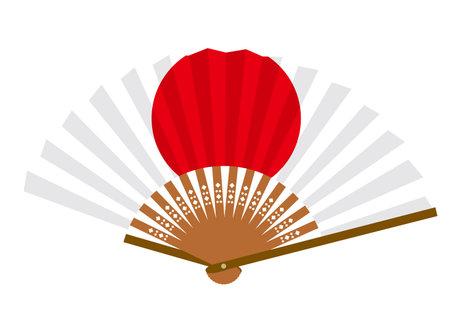 Japanese flag-patterned fan Ilustração
