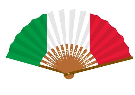 Italian flag-patterned fan