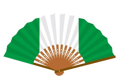 Nigerian flag-patterned fan