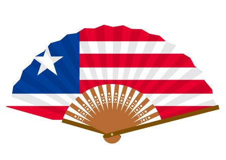 Liberian flag-patterned fan