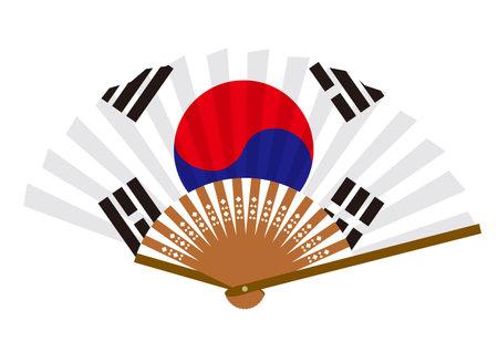 Korean flag-patterned fan Ilustração